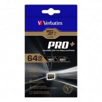 Verbatim paměťová karta micro SDXC Pro+, 64GB, micro SDXC, 44034, UHS-I U1 (Class 10), s adaptérem