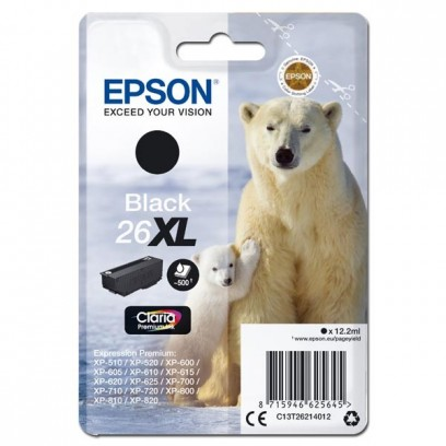 Epson originální ink C13T26214012, T262140, 26XL, black, 12,2ml, Epson Expression Premium XP-800, XP-700, XP-600