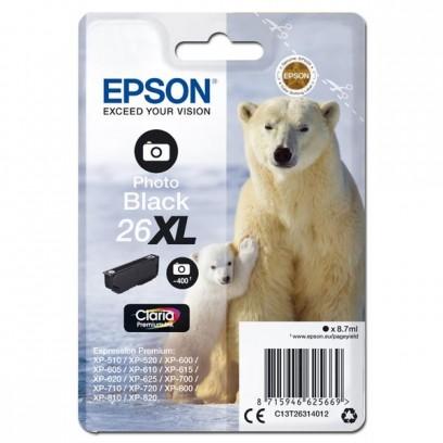 Epson originální ink C13T26314012, T263140, 26XL, photo black, 8,7ml, Epson Expression Premium XP-800, XP-700, XP-600