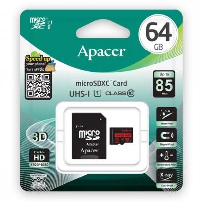 Apacer paměťová karta Secure Digital, 64GB, micro SDXC, AP64GMCSX10U5-R, UHS-I U1 (Class 10), s adaptérem