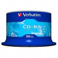 Verbatim CD-R, DataLife, 50-pack, 700MB, Extra Protection, 52x, 80min., 12cm, bez možnosti potisku, cake box, Standard