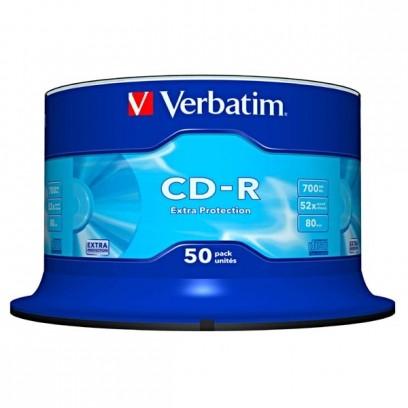 Verbatim CD-R, 43351, DataLife, 50-pack, 700MB, Extra Protection, 52x, 80min., 12cm, bez možnosti potisku, cake box, Standard...