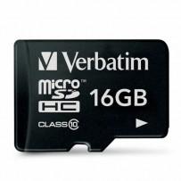 Verbatim Micro Secure Digital Card, 16GB, micro SDHC, 44010, UHS-I U1 (Class 10), bez adaptéru