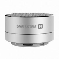 SWISSTEN bluetooth reproduktor, i-METAL, 3W, stříbrný, regulace hlasitosti, Bluetooth+USB konektorkovový