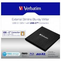 Verbatim externí Blu-Ray mechanika, 43889, USB 3.1, USB-C, ZDARMA 25GB MDISC