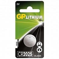 Baterie lithiová, konflíková, CR2025, 3V, GP, blistr, 1-pack