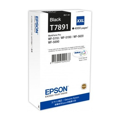 Epson originální ink C13T789140, T789, XXL, black, 4000str., 65ml, 1ks, Epson WorkForce Pro WF-5620DWF, WF-5110DW, WF-5690DWF
