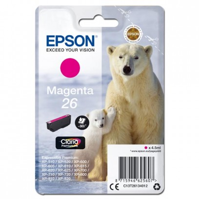 Epson originální ink C13T26134012, T261340, magenta, 4,5ml, Epson Expression Premium XP-800, XP-700, XP-600