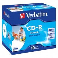 Verbatim CD-R, 43325, DataLife PLUS, 10-pack, 700MB, Super Azo, 52x, 80min., 12cm, Wide Printable, jewel box, Standard, pro a...