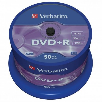 Verbatim DVD+R, 43550, DataLife PLUS, 50-pack, 4.7GB, 16x, 12cm, General, Advanced Azo+, cake box, Scratch Resistant, bez mož...