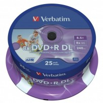 Verbatim DVD+R, 43667, DataLife PLUS, 25-pack, 8.5GB, 8x, 12cm, General, Double Layer, cake box, Wide Printable, pro archivac...