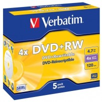 Verbatim DVD+RW, 43229, DataLife PLUS, 5-pack, 4.7GB, 4x, 12cm, General, Standard, jewel box, Scratch Resistant, bez možnosti...