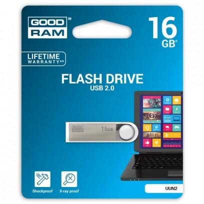 Goodram USB flash disk, 2.0, 16GB, UUN2, stříbrný, UUN2-0160S0R11