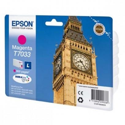 Epson originální ink C13T70334010, L, magenta, 800str., Epson WorkForce Pro WP4000, 4500 series