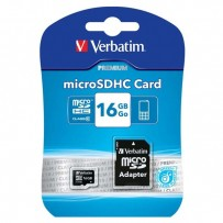 Verbatim Micro Secure Digital Card, 16GB, micro SDHC, 44082, UHS-I U1 (Class 10), s adaptérem