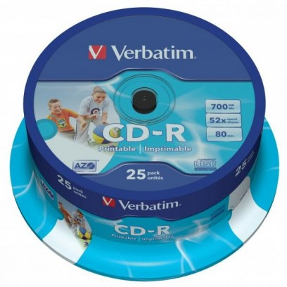 Verbatim CD-R, 43439, DataLife PLUS, 25-pack, 700MB, Super Azo, 52x, 80min., 12cm, Printable, cake box, Standard, pro archiva...