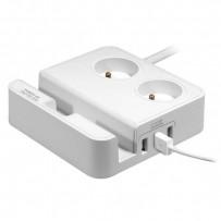 Přepěťová ochrana, 2 zásuvky, bílá, Logo, 3x USB, se stojánkem na tablet,mobil