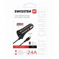 SWISSTEN, micro USB auto nabíječka, 1x konektor + USB port 12V, 5V, 2400mA, nabíjení mobilních telefonů a GPS, černá
