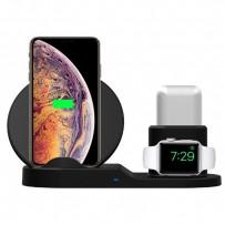 3v1 bezdrátová nabíječka, pro telefon, Apple Watch a Airpods, černá, 5/9V, 15W