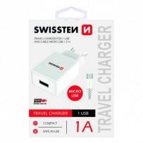 SWISSTEN, Síťový adaptér, s microUSB kabelem, 100-240V, 5V, 1000mA, nabíjení mobilních telefonů aj., bílý