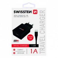 SWISSTEN, Síťový adaptér, s microUSB kabelem, 100-240V, 5V, 1000mA, nabíjení mobilních telefonů aj., černý
