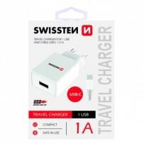 SWISSTEN, Síťový adaptér, s USB-C kabelem, 100-240V, 5V, 1000mA, nabíjení mobilních telefonů aj., bílý
