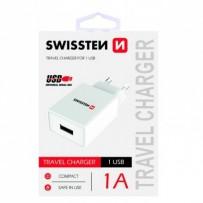 SWISSTEN, Síťový adaptér, 100-240V, 5V, 1000mA, nabíjení mobilních telefonů aj., bílý