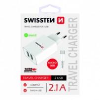 SWISSTEN, Síťový adaptér, s microUSB kabelem, 100-240V, 5V, 2100mA, nabíjení mobilních telefonů aj., bílý