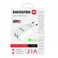 SWISSTEN, Síťový adaptér, 100-240V, 5V, 2100mA, nabíjení mobilních telefonů aj., bílý