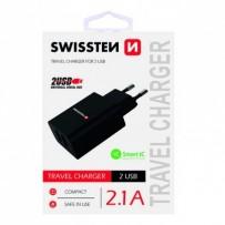 SWISSTEN, Síťový adaptér, 100-240V, 5V, 2100mA, nabíjení mobilních telefonů aj., černý