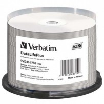 Verbatim DVD-R, 43744, DataLife PLUS, 50-pack, 4.7GB, 16X, 12cm, General, Wide Printable Surface Non-ID, cake box, Printable,...