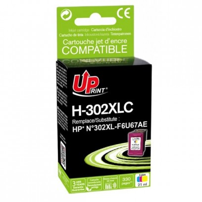UPrint kompatibilní ink s F6U67AE, F6U67AE, HP 302XL, color, 330str., 21ml, H-302XLCL, pro HP OJ 3830,3834,4650, DJ 2130,3630...