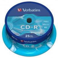 Verbatim CD-R, 43432, DataLife, 25-pack, 700MB, Extra Protection, 52x, 80min., 12cm, bez možnosti potisku, cake box, Standard...