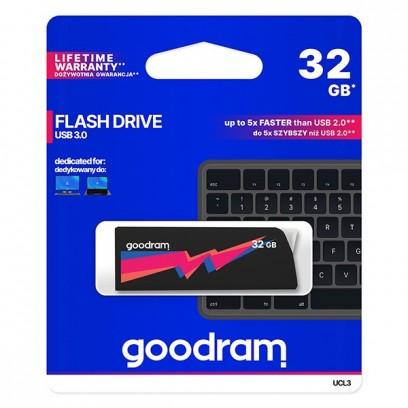Goodram USB flash disk, 3.0, 32GB, UCL3, černý, UCL3-0320K0R11, podpora OS Win 7, nové papírové balení