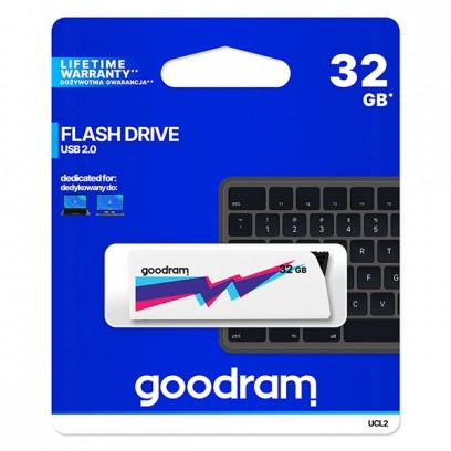 Goodram USB flash disk, 2.0, 32GB, UCL2, bílý, UCL2-0320W0R11, podpora OS Win 7