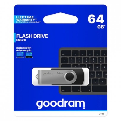Goodram USB flash disk, 2.0, 64GB, UTS2, černý, UTS2-0640K0R11, podpora OS Win 7