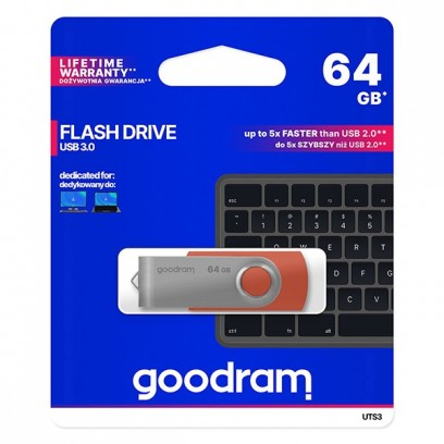 Goodram USB flash disk, 3.0, 64GB, UTS3, červená, UTS3-0640R0R11