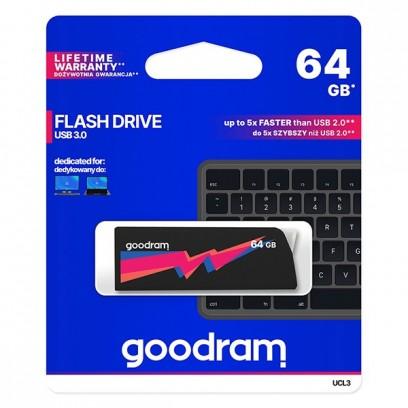 Goodram USB flash disk, 3.0, 64GB, UCL3, černý, UCL3-0640K0R11, podpora OS Win 7, nové papírové balení