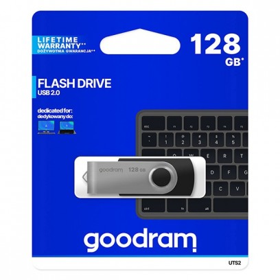 Goodram USB flash disk, 2.0, 128GB, UTS2, černý, UTS2-1280K0R11, podpora OS Win 7