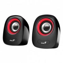 Genius reproduktory SP-Q160, 2.0, 6W, černočervené, regulace hlasitosti, stolní, 3,5 mm jack (USB), 150Hz-20kHz