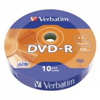 Verbatim DVD-R, 43729, DataLife, 10-pack, 4.7GB, 16x, 12cm, Matt Silver, cake box, Azo+, pro archivaci dat