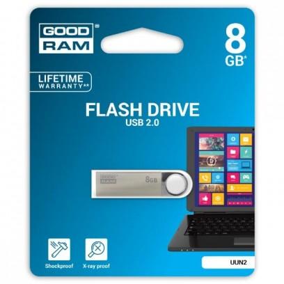 Goodram USB flash disk, 2.0, 8GB, UUN2, stříbrný, UUN2-0080S0R11