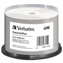 Verbatim CD-R, 43745, DataLife PLUS, 50-pack, 700MB, 52X, Professional, 80min., 12cm, Wide Inkjet Professional, Printable, ca...