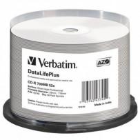 Verbatim CD-R, 43745, DataLife PLUS, 50-pack, 700MB, 52X, Professional, 80min., 12cm, Wide Inkjet Professional, Printable, ca...