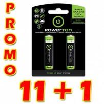 Baterie Ni-MH, AAA nabíjecí, 1.2V, 900 mAh, Powerton, box, 12x2-pack, PROMO 2-pack 11+1 ZDARMA (22+2 ks ZDARMA)