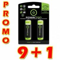 Baterie Ni-MH, AA nabíjecí, 1.2V, 2500mAh, Powerton, box, 10x2-pack, PROMO 2-pack 9+1 ZDARMA (18+2 ks ZDARMA)