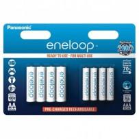 Přednabité baterie, AA/AAA nabíjecí, 1.2V, 750mAh, 1900 mAh, Panasonic-Eneloop, blistr, 8-pack