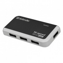 USB (2.0) hub 4-port, Quadro Infix, černo-šedá, Defender, LED indikátor, kompaktní