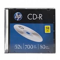 HP CD-R, CRE00085-3, 10-pack, 700MB, 52x, 80min., 12cm, bez možnosti potisku, slim case, Standard, pro archivaci dat