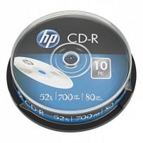 HP CD-R, CRE00019-3, 10-pack, 700MB, 52x, 80min., 12cm, bez možnosti potisku, cake box, Standard, pro archivaci dat